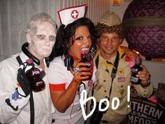 Spoooky! And also, completely silly!  Grey's Anatomy stars Justin Chambers, Sara Ramirez, and Kevin McKidd got their spook on by dressing up in their costumes...