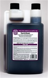 Sani Clean 32oz -- An acid rinse, much like Star San, but low-foaming — great for CIP or pump applications and soaking parts. Saniclean does not require a rinse when used at or below 200 ppm. Great to use in spray bottles, circulation sanitizing with a pump, or other applications where lots of foam is undesirable.  For soaking use 2 oz Saniclean per 4 gallons of water, hand-washed parts should soak for 5 minutes, then rinse with potable water. Our Price: $12.15