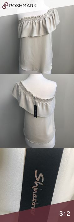 One Shoulder Top Cream colored Sharon star one shoulder top with ruffle! New with tags! Shinestar Tops Blouses
