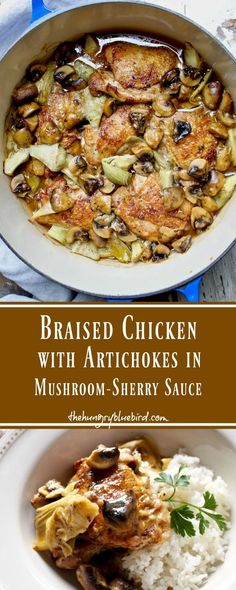 Simple and elegant braised chicken dish, with artichokes and mushrooms in a sauce made with chicken stock and sherry. Equally impressive for entertaining or on the table for the family. #chicken #artichokes #mushrooms #sherry #casserole #entertaining