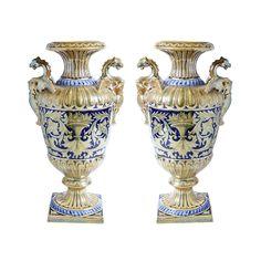 """Pair of early 20th century Italian """"Robbia Gualdo Tadino"""" majolica urns"""