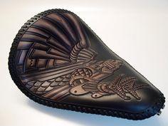 Leathersmith specializing in chop seats and saddles and custom horse tack and \ Saddle items. Motorcycle Seats, Motorcycle Leather, Motorcycle Outfit, Motorcycle Garage, Leather Carving, Leather Tooling, Tooled Leather, Custom Leather, Handmade Leather