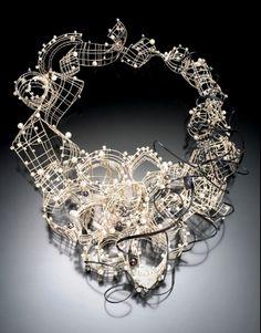 Necklace | Jee Hye Kwon - Thinking Aloud  - silver, shakudo, pearls, cz