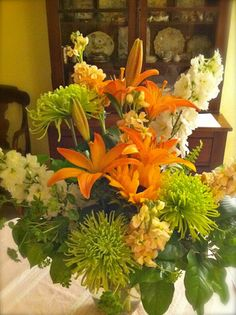 Orange and green Autumn floral bouquet