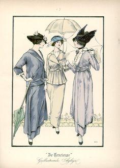 [De Gracieuse] No. 1. Tailleurkostuum van gabardine. No. 2. Eenvoudig kostuum voor jonge meisjes. No. 3. Elegant tailleurkostuum van zijden gabardine (September 1914)