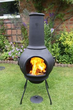 This chimenea is made from thick, solid cast iron and is ideal for families and for frequent fires. Cast iron heats up very quickly and then retains the heat for a long time afterwards, making it the perfect material for a patio heater. The chimenea comes complete with rain lid and stand and is available in two sizes. Please select from the drop down list which size you require. The chimenea is in two separate parts to allow you to move it easier.