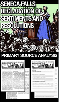 Seneca Falls Rights Declaration of Sentiments and Resolutions Primary Source History Lesson Plans, Social Studies Lesson Plans, Teaching Social Studies, Psychology Programs, Counseling Psychology, School Psychology, Teaching American History, American History Lessons, Teaching History