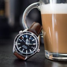 Coffee Time !!! Always time for a coffee, here is the Omega Planet Ocean on a Hirsch Lucca Artisinal Leather strap !!