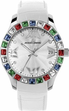 Jacques Lemans Women's Rome Swarovski 1-1571 F Jacques Lemans. $125.00. Structured dial. White leather strap. Jacques Lemans. Two year warranty. Swarovski. Save 34% Off!