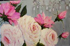 Susan Brown - roses with peeping chandelier