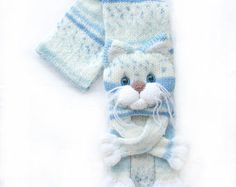 Knitted cat scarf,Knitted scarf,Animal scarf,Cat scarf,Knit scarf