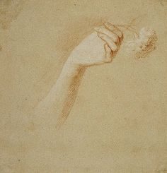 A Lady's Left Hand Holding a Rose. Study for the Painting 'The Artist's Wife: Margaret Lindsay of Evelick', Allan Ramsay about 1758-60.