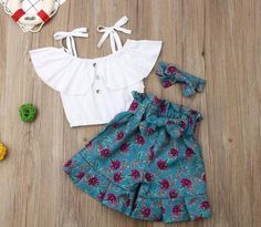 Keepu Little Girls Summer Shorts Set Straps Ruffle Crop Tops + Floral Knot Shorts + Headband Summer Outfits Cute Toddler Girl Clothes, Toddler Girl Style, Toddler Girl Outfits, Baby Girl Dresses, Kids Outfits, Baby Girl Fashion, Toddler Fashion, Kids Fashion, Fashion Spring