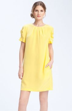 Pleated shift dress. Love the shape and color. Classic.