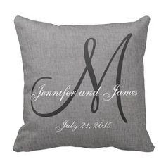 Gray White Linen Monogram Wedding Keepsake Pillow