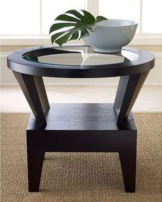 Round End Table Glass Top Contemporary Home Decor Living Room Hallway Espresso…