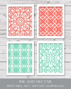 Mint and Coral Art Printable Art Bedroom by inkandnectardigital