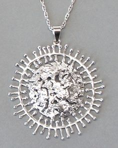 "Tapio Wirkkala for Kultakeskus Oy, modernist ""Full Moon"" necklace, in sterling silver. #Finland"