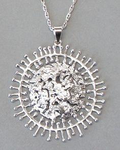 """Tapio Wirkkala for Kultakeskus Oy, modernist """"Full Moon"""" necklace, in sterling silver. #Finland"""