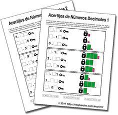 Fichas Imprimibles para trabajar Números Decimales. Cuadernillo con Décimos y Centésimos Imprimibles en PDF. Acertijos de llaves y Números Decimales. Repaso de Representación de Números Decimales. Juegos Matemáticos de Práctica. Juegos de unir con líneas para Números Decimales. Ejercicios de Decimales. Notebook, Bullet Journal, Map, Rounding Games, Math Games, Communication Activities, Bar Graphs, Location Map, Maps