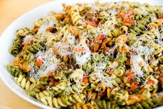 Darling Pasta; pasta, chicken, sun-dried toms, pesto, parm, roasted peppers, garlic, pine nuts
