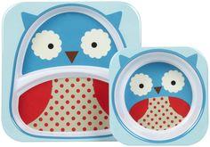 SKIP HOP ZOO TABLETOP SET- PLATE AND BOWL  ( OWL)