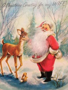 A personal favorite from my Etsy shop https://www.etsy.com/listing/470999474/vintage-christmas-card-wife-santa-and