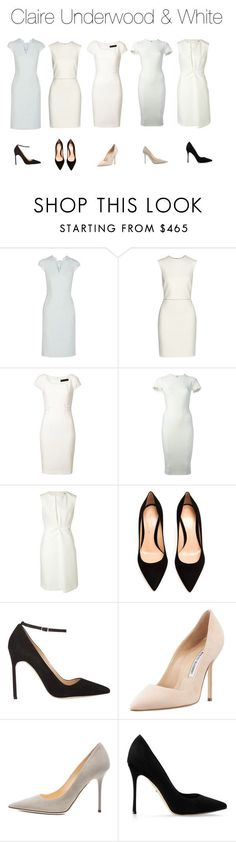 """""""Claire Underwood & White"""" by oliviapope411 ❤ liked on Polyvore featuring Zac Posen, ADAM, Versace, Victoria Beckham, Jil Sander, Gianvito Rossi, Manolo Blahnik, Jimmy Choo, Sergio Rossi and houseofcards"""
