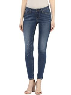 Embellished Pattern Denim Ankle Length Skinny Fit Jeans Skinny Fit Jeans, Ankle Length, Denim, Pattern, Pants, Fashion, Moda, Trousers, Tapered Jeans