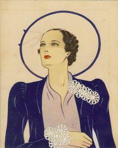 Publicité Vintage - Miriam Haskell - Larry Austin Aquarelles