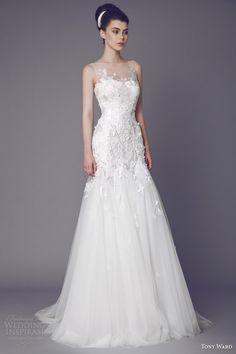 tony ward bridal 2015 stellaire sleeveless wedding dress illusion neckline