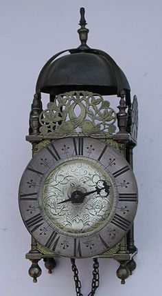 """""""Lantern Clock,"""" by Peter Stretch, Leek,Staffordshire,England, c1670 (Peter and his family migrated to Philadelphia about 1712)"""