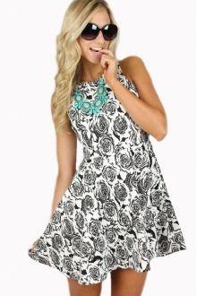 Wild Rose B&W Print Dress $29.99 #wildrose #printeddress #sophieandtrey #blackandwhite #print #dress #cute #girly #fashion #musthave #fitandflare