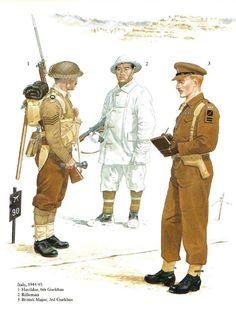 BRITISH ARMY - Gurka nel Mediterraneo - 1. Havildar, 6° Gurkhas - 2. Rifleman - 3. British Major, 3° Gurkhas
