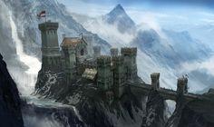 Mountain hold ~ { concept art } Fantasy art landscapes Fantasy castle Fantasy landscape