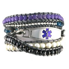 The Dream Beaded Wrap Medical Bracelet is an exquisite shade of silver, turquoise, lavender, charcoal and fresh water pearl beads wrapped in a a grey leather cord. This beaded medical bracelet could be dressed up or dressed down! Epilepsy Awareness, Diabetes Awareness, Medical Id Bracelets, Women Jewelry, Beaded Bracelets, Purple, Grey Leather, Leather Cord, Pearl Beads