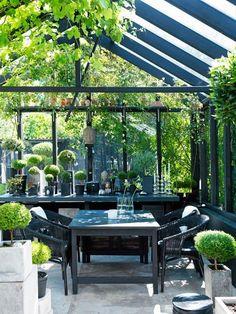 I ett växthus eller uterum i glas kan man njuta av trädgården även blåsiga och kalla dagar. Det här är en förlängning av ett bostadshus med utgång från köket och vidare ut. Uterummet förlänger vår korta odlarsäsong med flera månader. Det kan användas för övervintring av känsliga växter. Med ett par plusgrader under de kalla månaderna klarar sig rosmarin, citron- och olivträd här. Mitt på sommaren blir det hett bakom glaset. Då behövs skugga av textil, eller som här, vinrankor.