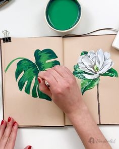 Painting Monstera with Gouache - Quick tutorial how to paint monstera with watercolor Plant Painting, Plant Art, Cactus Painting, Leaf Drawing, Plant Drawing, Watercolor Flowers, Watercolor Paintings, Watercolor Paper, Gauche Painting