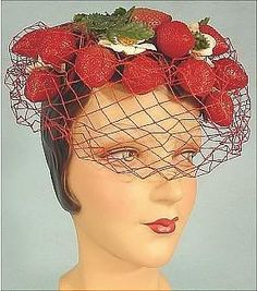 Strawberry Hat c 1950's Bes-Ben. Benjamin Greenfield and sister Bessie. Chicago.  Bes-Ben hats were mainstream when they started in 1920, but in 1941 they began designing elaborate and creatively themed hats. The average price for a Bes-Ben hat in the 1940s was $ 50 but now sell at auction for as much as $ 1500