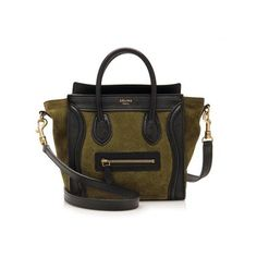Pre-Owned Celine Suede Bicolor Nano Luggage Tote (€1.410) ❤ liked on Polyvore featuring bags, handbags, tote bags, black, zipper tote, celine purse, celine tote bag, zip tote bag and suede handbags