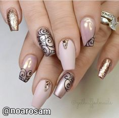 35 Outstanding Short Coffin Nails Design Ideas For All Tastes Nude Colored Nails With Black Pa Fancy Nails, Trendy Nails, Hair And Nails, My Nails, Nails 2017, Ballerina Nails, Super Nails, Nagel Gel, Nail Art Hacks