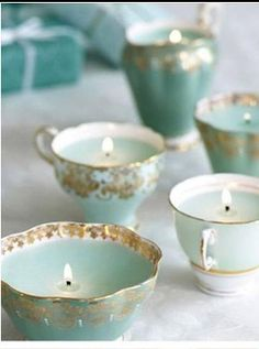 Home made candles made in recycled op shop china tea cups. What a lovely gift idea for Mother's Day or for your favourite teacher!