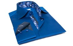 Blue Shirt Gitane Floral Print and Striped Lining, Waisted-fit - Dress Shirts for Men - French-Shirts.com