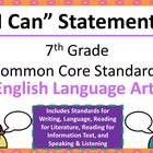 I Can Statements that can be easily displayed in your seventh grade classroom.   This file contains standards for Writing, Reading for Informationa...
