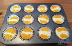 Rychlé tvarohové muffiny s ovocem | NejRecept.cz Muffins, Mini Cheesecakes, Dessert Recipes, Desserts, Ham, Sweet Tooth, Good Food, Food And Drink, Cupcakes