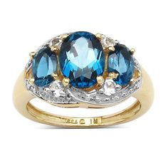 Malaika 14K Yellow Gold Plated 2.77 Carat London Blue Topaz and White Topaz .925 Sterling Silver Ring (Size 7), Women's