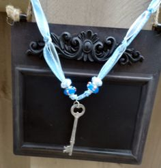 Blue Ribbon Key Necklace