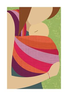 Babywearing Art Print Baby Sling Giclee by NorthernSunArtPrints