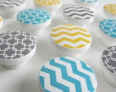 Yellow Aqua Gray Chevron Knobs, Linked Square Pattern Knobs, Yellow Chevron Knob, Blue Pattern Knobs  - Wood Knobs- 1 1/2 Inches - Set of 12 on Etsy, $50.42 AUD