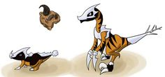 Rock/Dark type raptor fossil pokemon, not using